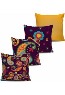 Kit 4 Capas De Almofada Floral Multicolorida 45X45Cm - Multicolorido - Dafiti