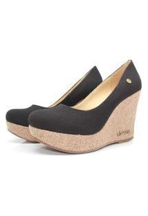 Scarpin Barth Shoes Land Juta Ouro Lona - Preto
