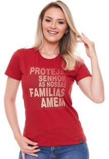 Baby Look Proteja Senhor As Nossas Familias Amém Ágape Feminina - Feminino-Vermelho