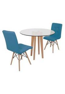 Conjunto Mesa De Jantar Em Vidro 90Cm Com Base Vértice + 2 Cadeiras Gomos - Turquesa