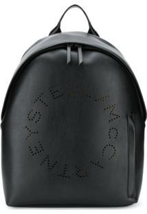Stella Mccartney Perforated Logo Backpack - Preto
