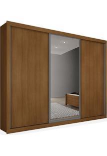 Armário 3 Portas De Correr Com Espelho, Imbuia, Premium Plus 2,16M