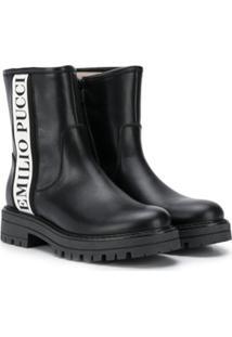 Emilio Pucci Junior Ankle Boot Com Logo - Preto