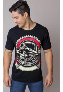 Camiseta Preta Com Estampa Frontal