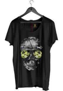 Camiseta Estonada Corte À Fio Joss Skull Beach Masculina - Masculino