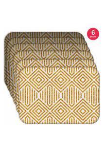 Jogo Americano - Love Decor Abstract Yellow Kit Com 6 Peças.