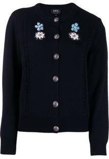 A.P.C. Cardigan Com Bordado Floral - Azul