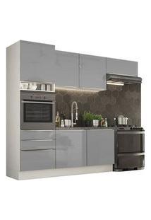 Cozinha Completa Madesa Lux Com Armário E Balcão 6 Portas 3 Gavetas Branco/Cinza Branco