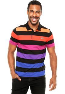 Camisa Polo Lacoste Listras Preta/Laranja/Azul