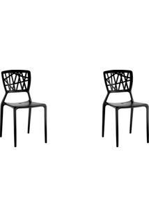 Kit 02 Cadeiras Melissa Preta Rivatti