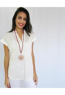 Blusa Fernanda Almeida Jade Feminino - Feminino-Branco