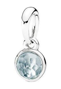Charm Pendente Gota Cristal- Prata & Azul Claro- Panpandora