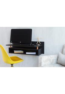 Escrivaninha Preta Pequena Suspensa Moderna De Parede Paul Woodinn - 90X38,5X30 Cm