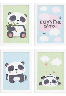 Quadros Infantis Animais Panda Moldura Branca 22X32Cm Kit4Un