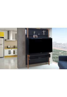 Rack Suspenso - Painel De Madeira Para Tv Preto Para Tv Até 60 Polegadas Karl Woodinn - 134X25,5X180 Cm