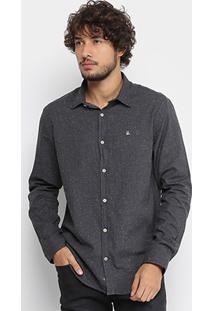 Camisa Foxton Manga Longa Botonê Masculina - Masculino-Preto