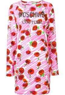 Moschino Vestido Slim Com Logo - Rosa