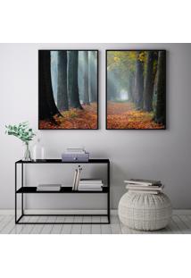 Quadro Oppen House 70X100Cm Caminho Na Floresta Raios De Sol Decorativo Interiores Sala De Estar Quartos Moldura Preta Com Vidro