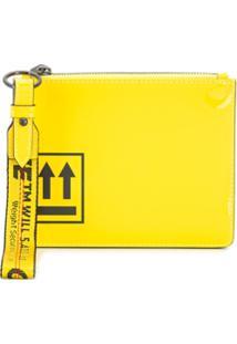 Off-White Clutch Com Estampa De Flecha - Amarelo