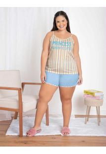 Pijama Curto De Alcinha Listra/Azul