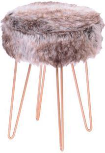 Puff Glamour- Mescla & Cobre- 40Xø28Cm- Or Desigor Design