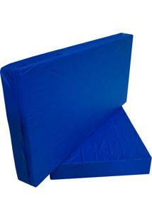 Capa Para Colchão Casal Hospitalar Impermeável Azul Com Ziper - 1.28X1.88X0.17