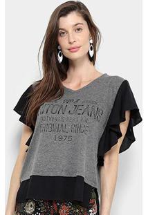 Blusa Triton Jeans Feminina - Feminino-Chumbo