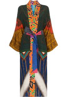 Rianna + Nina Kimono Com Mix De Estampas Astecas - Estampado