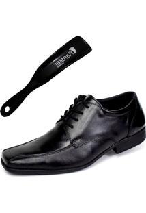 Sapato Social Ranster San Cley Cadarço Couro Preto Calçadeira