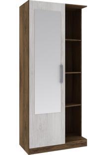 Armário Multiuso 1 Porta 3 Prateleiras 28Mu1004 Com Espelho Cacau/Blanc - Rodial