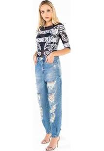 Jaqueta Jeans Com Silk Onça Esplendor Costas Com T Caos Feminina - Feminino-Azul