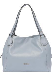 Bolsa Em Couro Com Tag Frontal- Azul Claro- 29X34X11Griffazzi