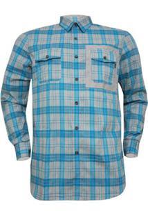 Camisa Oakley Xadrez O-Plaid Woven Masculina - Masculino-Azul