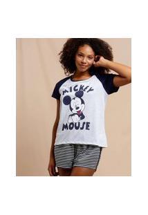 Pijama Feminino Mickey Manga Curta Disney