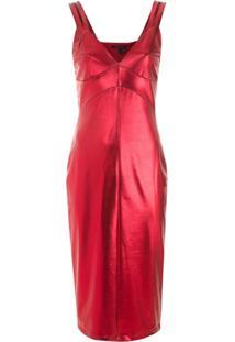 Armani Exchange Vestido Justo Metalizado - Vermelho