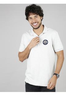 Polo Masculina Comfort Com Patch Manga Curta Off White