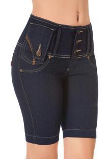 Bermuda Cós Largo Jeans Escuro