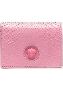 Versace Carteira De Couro Com Textura - Rosa