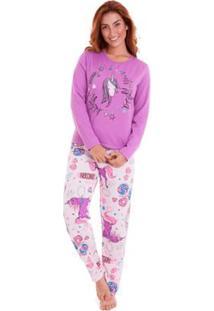 Pijama Longo Em Moletinho Luna Cuore Feminino - Feminino-Lilás