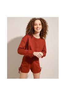 Blusão Cropped De Moletom Com Elástico Decote Redondo Marrom