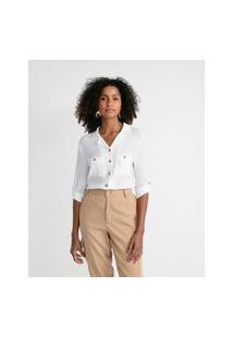 Camisa Manga Longa Em Viscose Com Bolsos Frontais E Botões Contrastantes | Marfinno | Branco | G