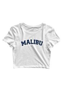 Blusa Blusinha Feminina Cropped Tshirt Camiseta Malibu Branco