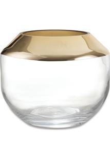 Vaso Metalizado- Incolor & Dourado- 9Xã˜11Cm- Marmart