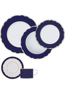 Aparelho De Jantar 30 Peças Royal Blue - Germer - Branco / Azul