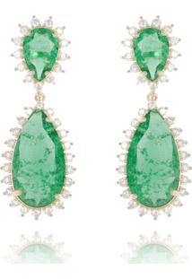 Brinco Levitha Semijoias Luxo Gotas Verde Esmeralda Fusion - Ouro