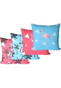 Kit Com 4 Capas Para Almofadas Flamingo E Triã¢Ngulos 35X35Cm - Multicolorido - Dafiti