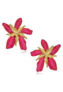 Brinco Le Diamond Flor Dupla Esmaltada Pink