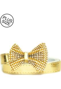 Cinto Feminino Plus Size - Confidencial Extra Dourado Com Lacinho De Strass - Dourado