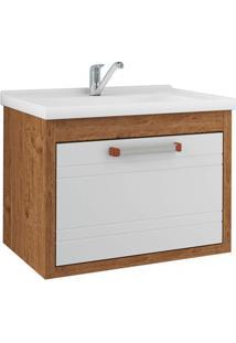 Gabinete Suspenso Para Banheiro Jade 44X59Cm Amêndoa E Branco