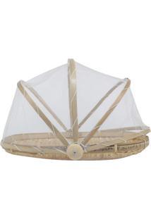 Cesta Porta Pão Oval Le Bambu Com Tela Em Madeira E Bambu Marrom 33Cm